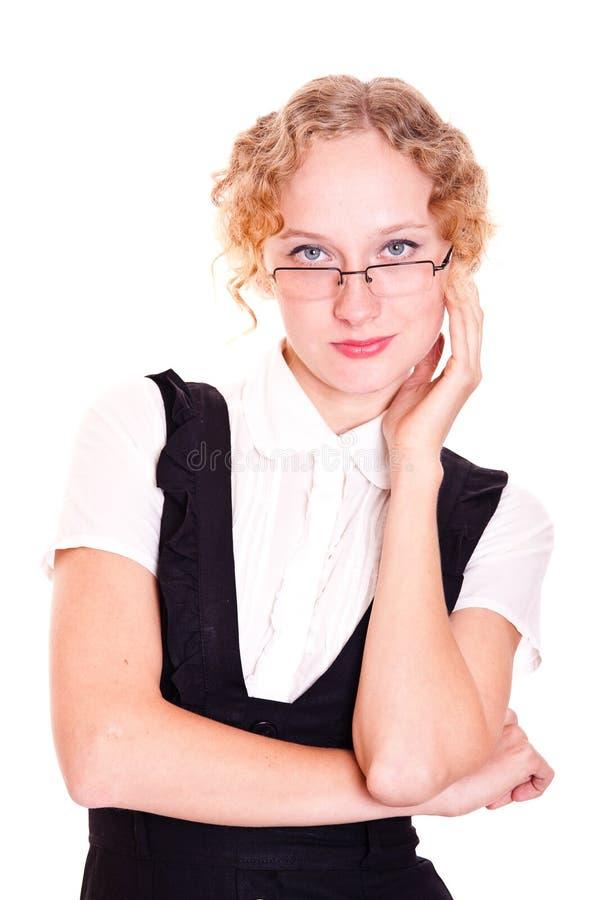 女孩玻璃红头发人 库存照片