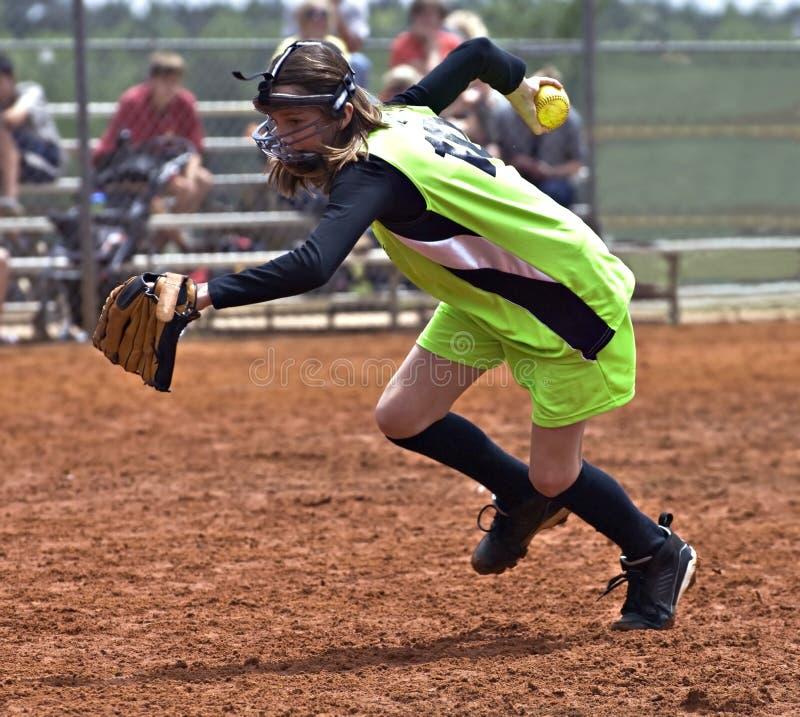 女孩球员垒球 库存照片