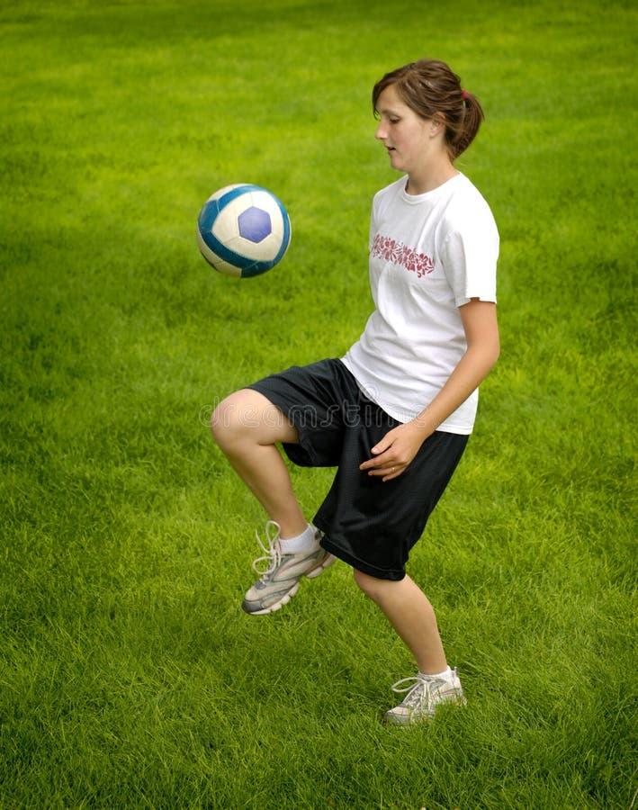 女孩球员足球 库存照片