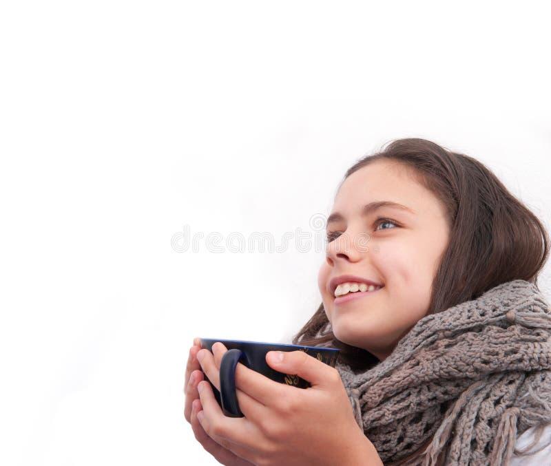 女孩生病并且喝茶 免版税库存图片