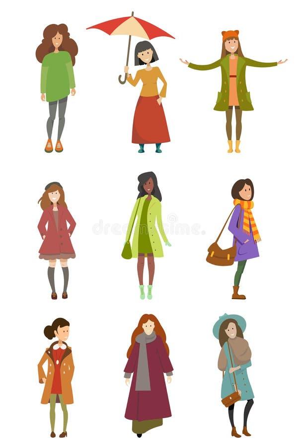 女孩用不同的秋天衣裳 库存例证