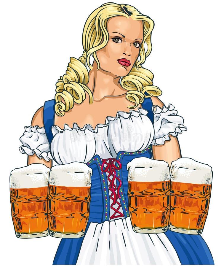女孩用啤酒 库存例证