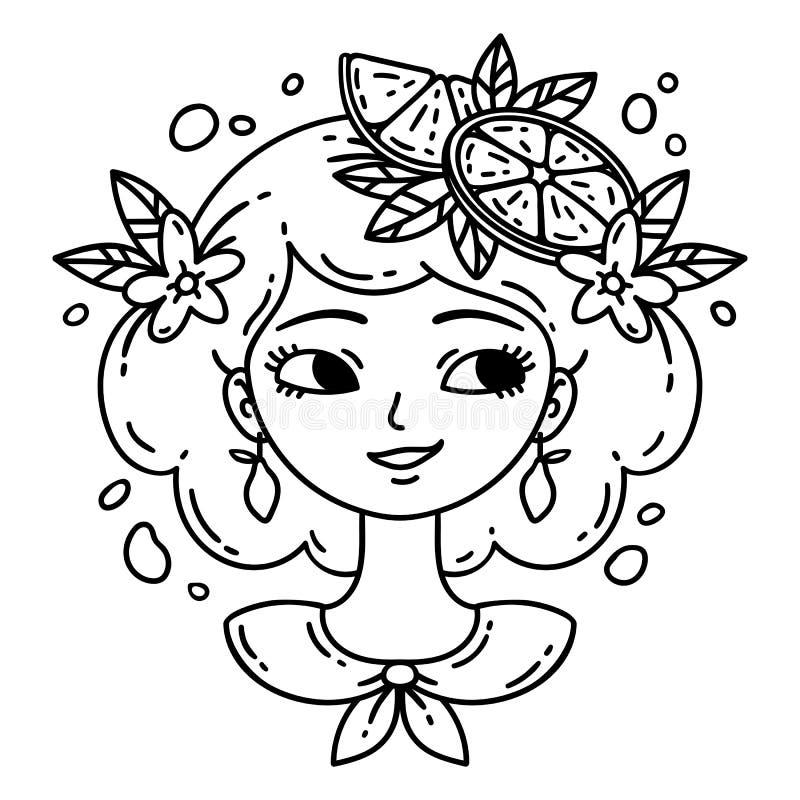 女孩用柠檬 柠檬水女孩 在空白背景的查出的对象 也corel凹道例证向量 着色页 库存例证
