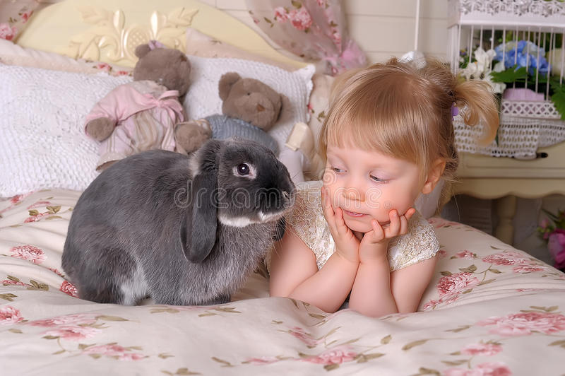 女孩用灰色兔子 库存照片