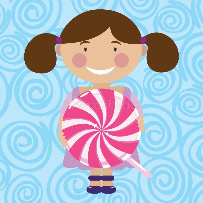女孩用糖果 向量例证