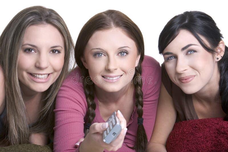 女孩电视注意 库存照片