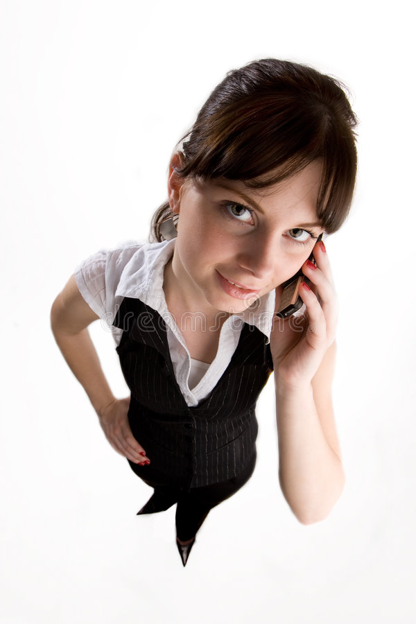 女孩电话联系 免版税图库摄影