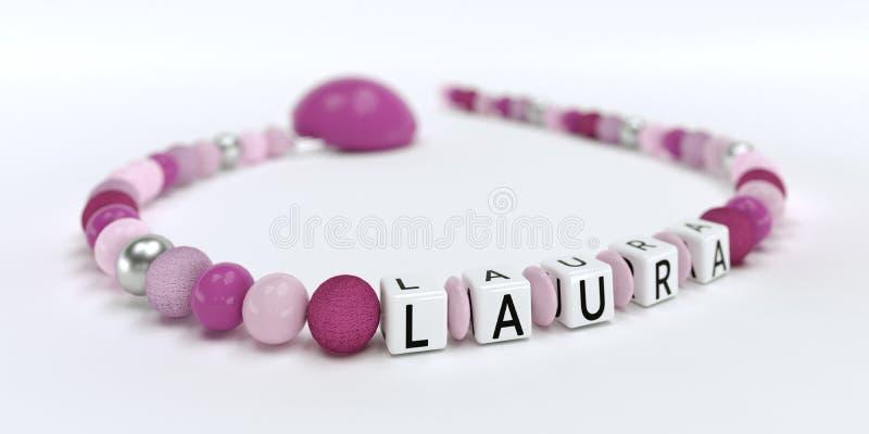 女孩的一个桃红色安慰者链子有名字的劳拉 库存例证