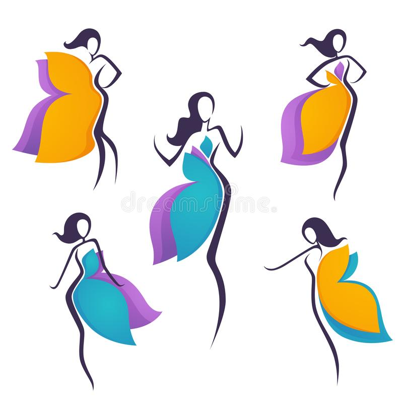 女孩的传染媒介汇集看起来象明亮的花或蝴蝶翼礼服为您的商标 皇族释放例证