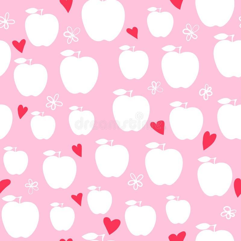 女孩的传染媒介苹果现代无缝的时尚设计样式 皇族释放例证