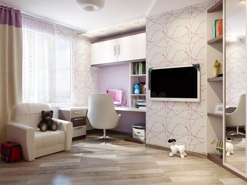 女孩的儿童` s室室内设计 免版税库存照片