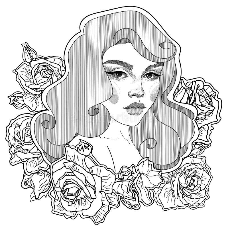 女孩的别针玫瑰的 库存例证