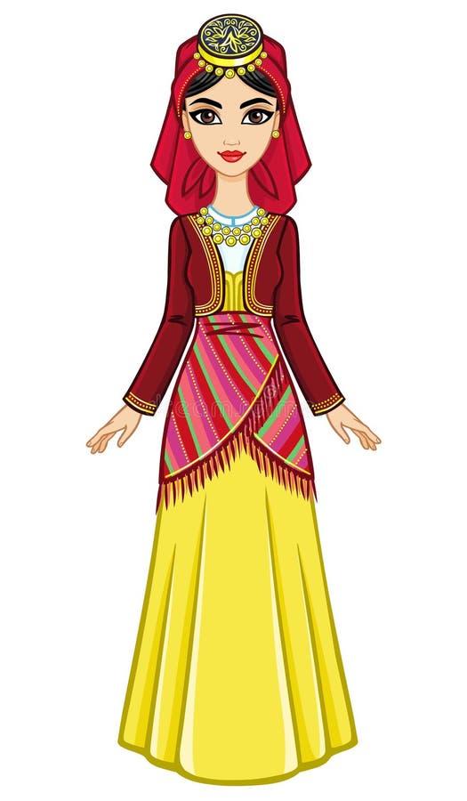 女孩的动画画象希腊衣服的 被晒黑的皮肤 库存例证