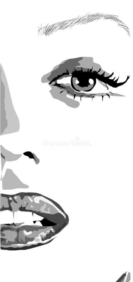 女孩的半面孔有嘴唇的和钉子喜欢仅仅林门罗 一名美丽的妇女的剪贴美术有红色嘴唇的喜欢仅仅林门罗 库存例证