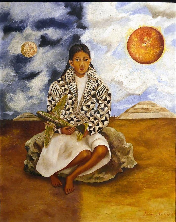 女孩的原始的绘画'画象的照片从提瓦坎的,Lucha玛丽亚或者太阳和月亮'芙烈达・卡萝 免版税库存图片