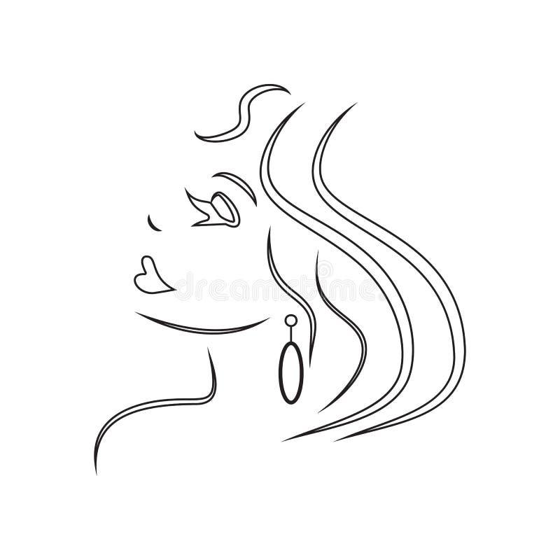女孩的商标发廊象的 E 概述,稀薄的线象 库存例证
