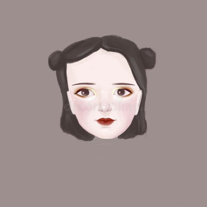 女孩的头画象  免版税库存图片
