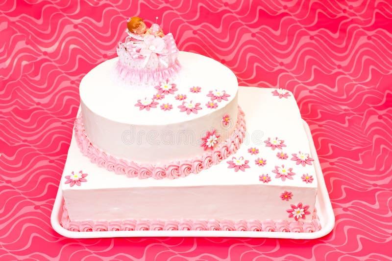 女孩的洗礼仪式蛋糕 图库摄影