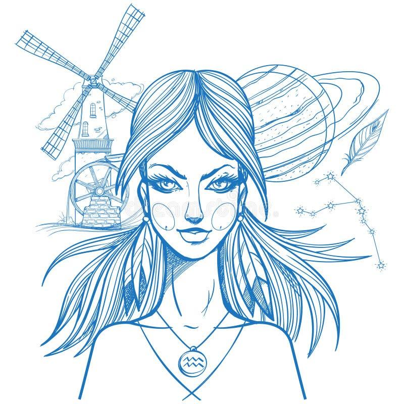 女孩的画象象征黄道带标志宝瓶星座 上色的外形图 皇族释放例证