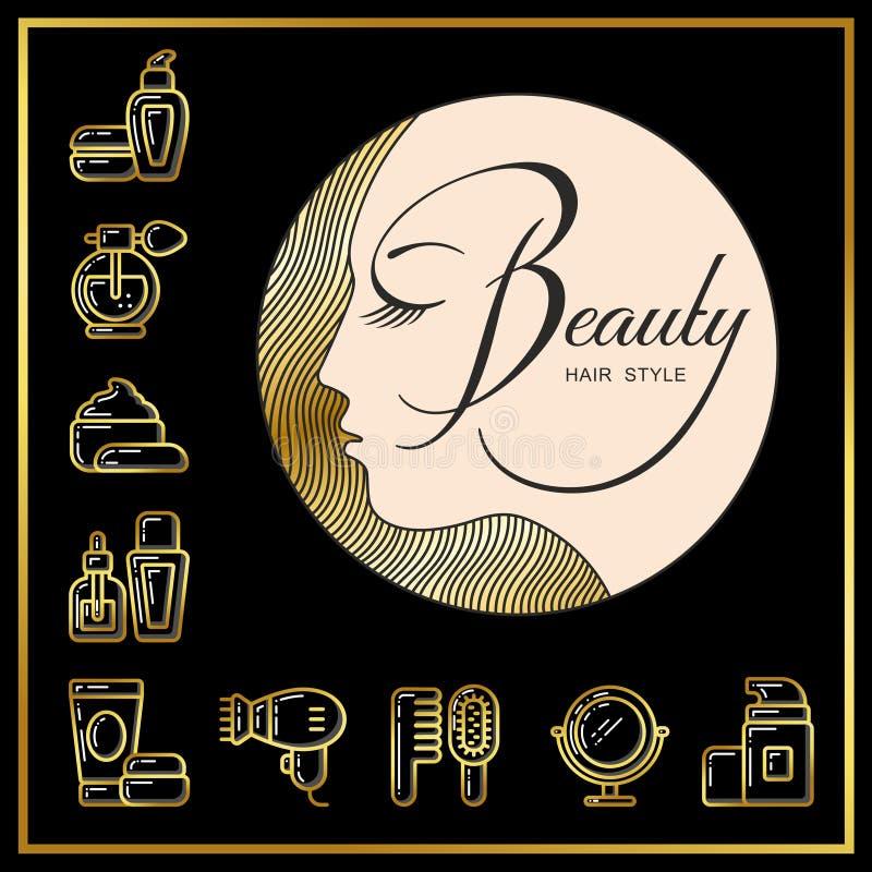 女孩的美丽的面孔有金黄头发和秀丽化妆用品ico的 向量例证