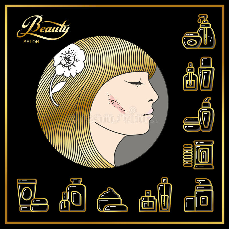 女孩的美丽的面孔有金黄头发和秀丽化妆用品ico的 皇族释放例证