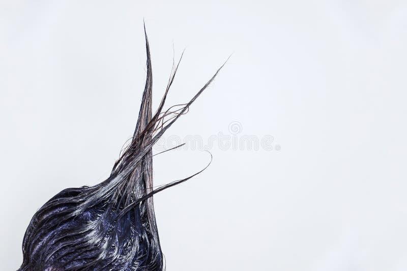 女孩的被绘的长的头发垂直向上在绘画工艺中非常突出  库存图片