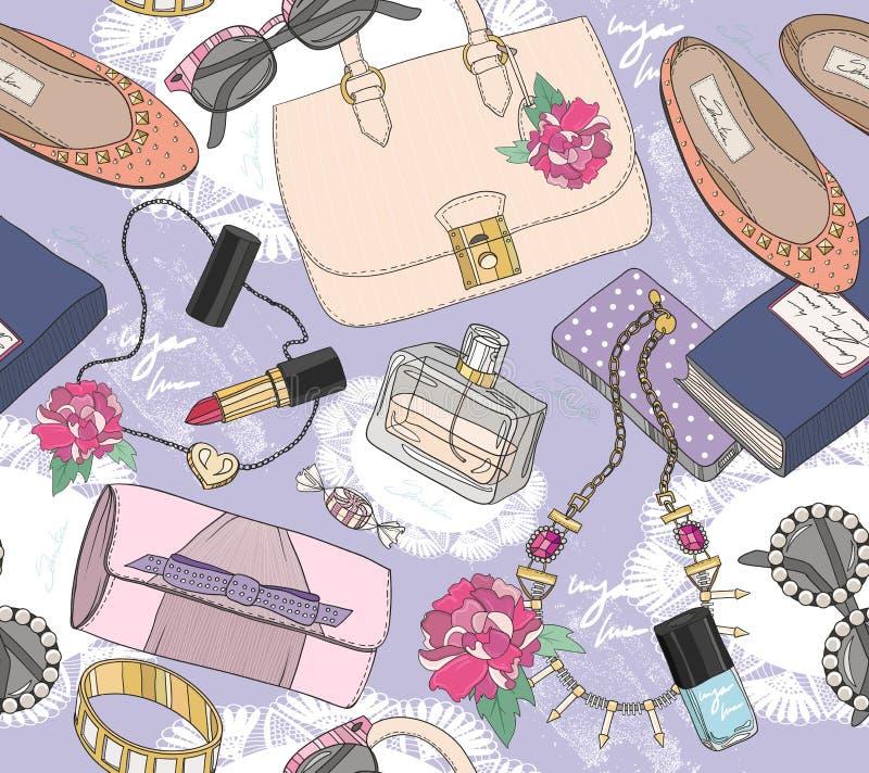女孩的逗人喜爱的无缝的时尚样式 向量例证