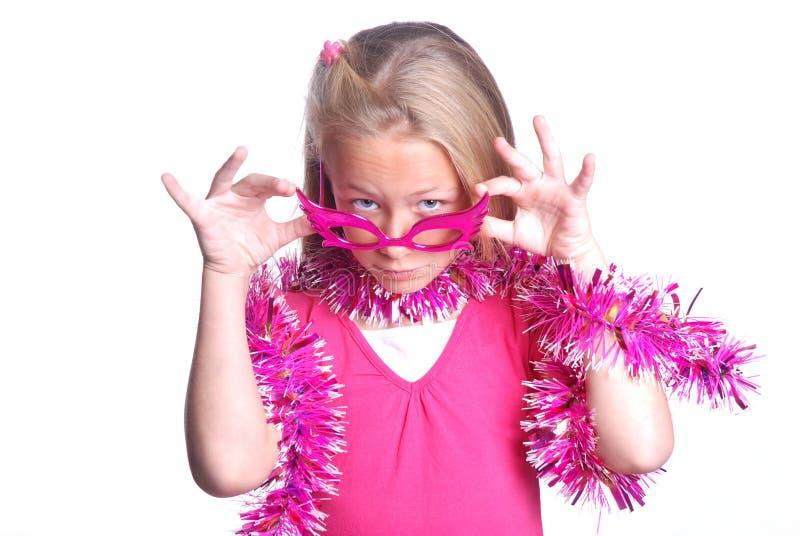 女孩相当少许当事人粉红色 免版税图库摄影
