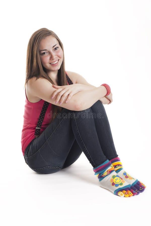 女孩相当微笑少年 图库摄影