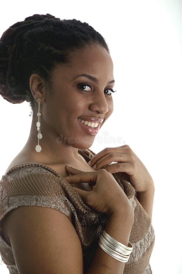 女孩相当性感的微笑 免版税库存图片