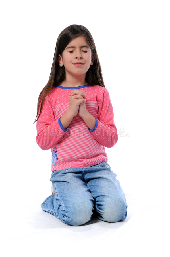 女孩祈祷的年轻人 免版税图库摄影