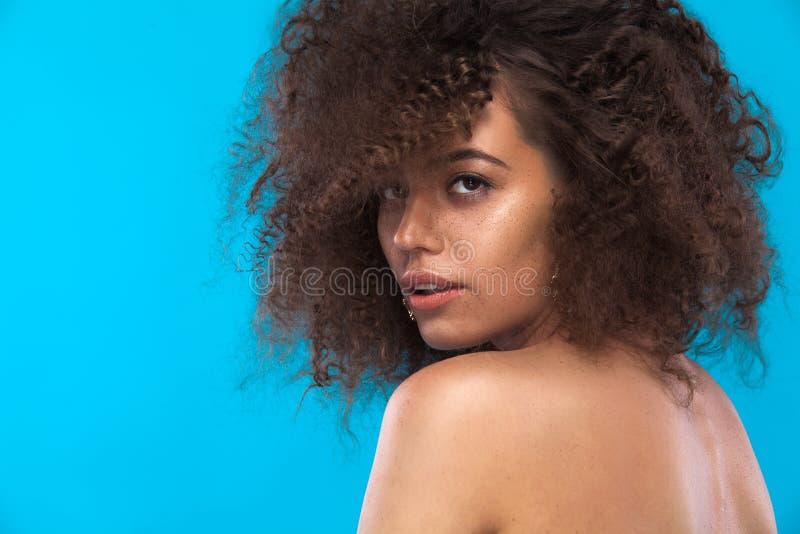 女孩秀丽画象有非洲的发型的 摆在蓝色背景的女孩 美丽的夫妇跳舞射击工作室妇女年轻人 复制空间 免版税库存照片