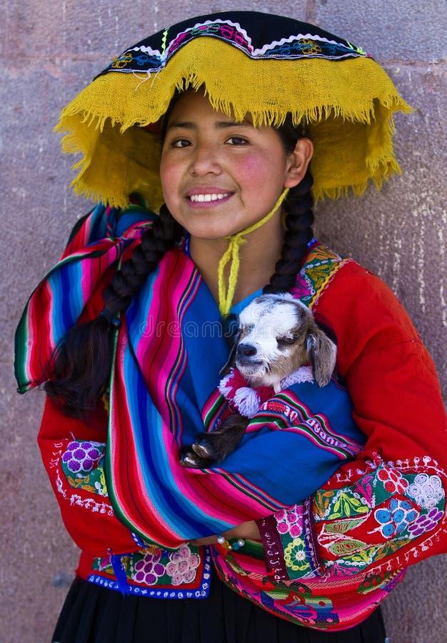 女孩秘鲁人 图库摄影