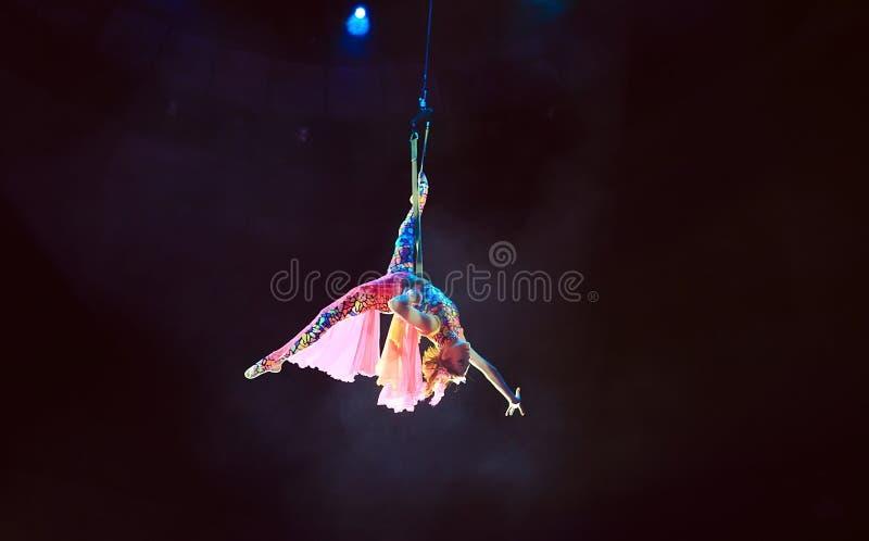女孩空中杂技演员的表现马戏的 库存图片