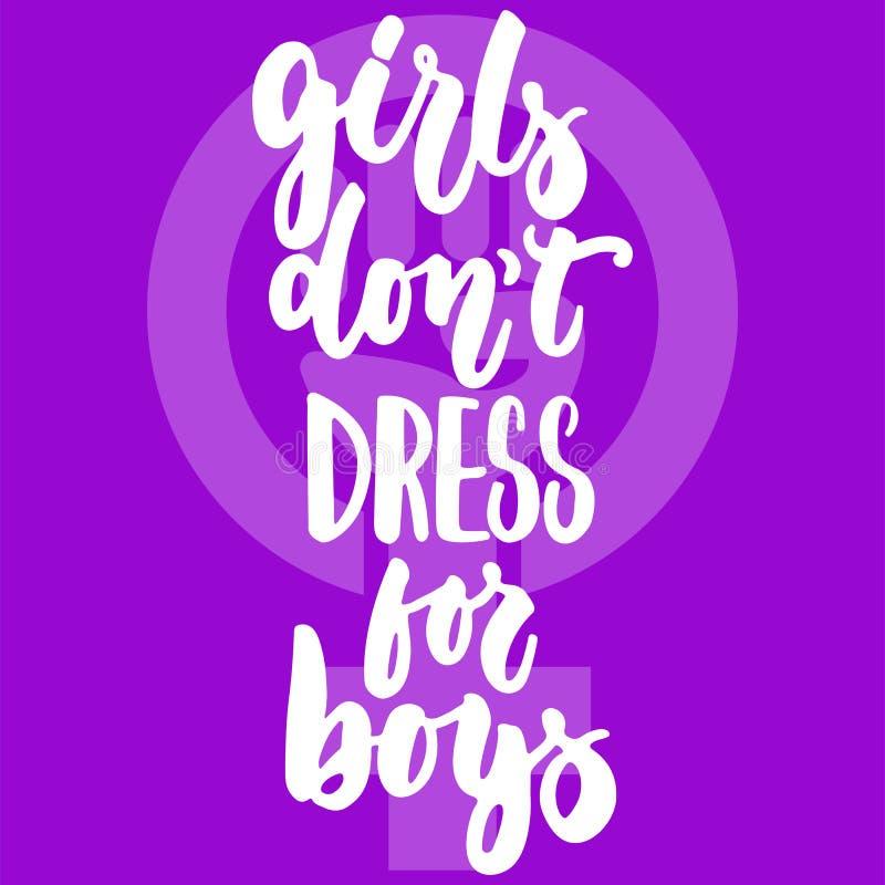 女孩穿上男孩的` t礼服-关于妇女,女性,在紫罗兰色背景的女权主义的手拉的字法词组 乐趣 皇族释放例证
