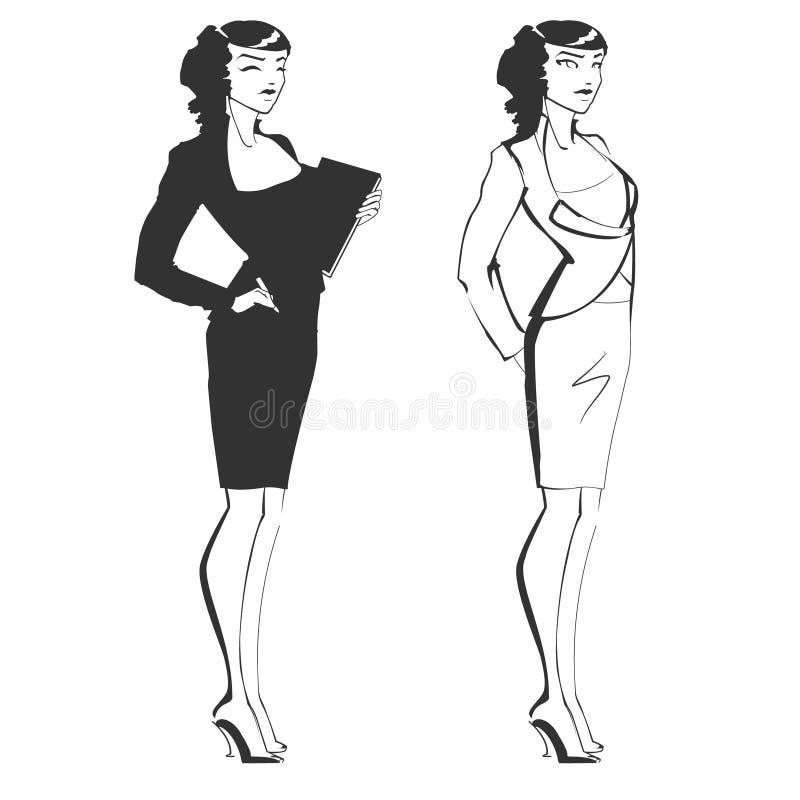 女孩管理员或企业夫人 库存例证