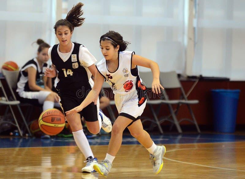 女孩篮球行动 库存图片