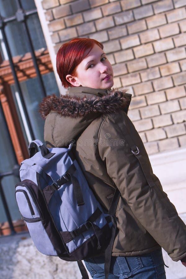 女孩红发学员 图库摄影