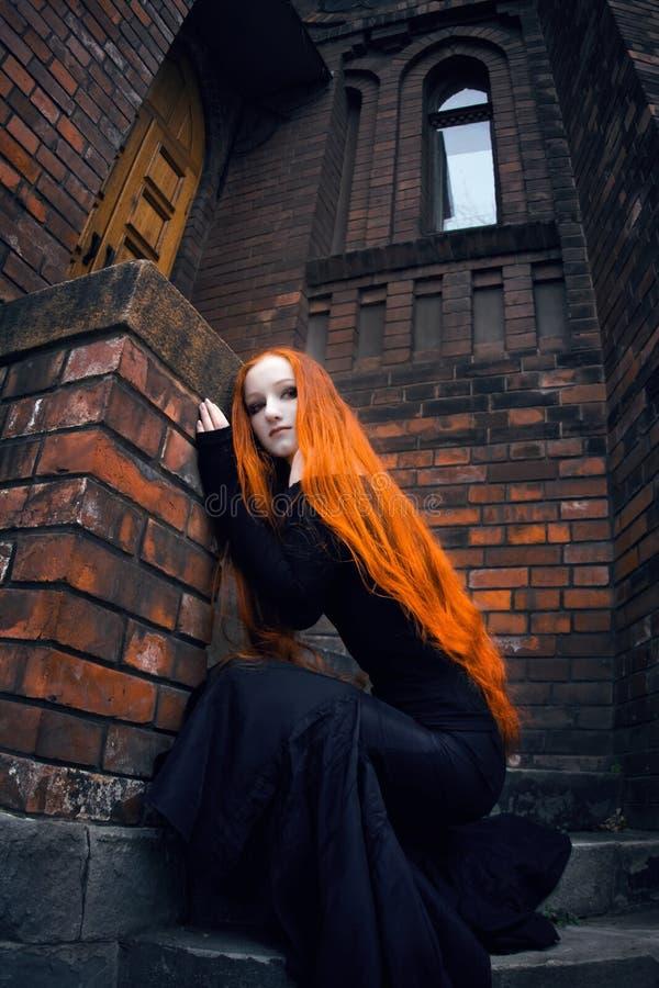 女孩红头发人 库存图片