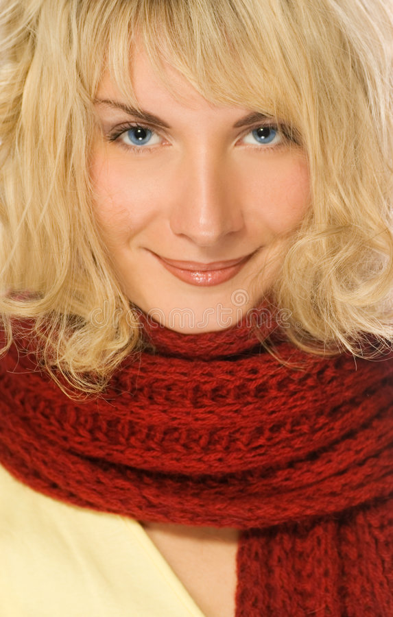 女孩红色围巾 库存照片