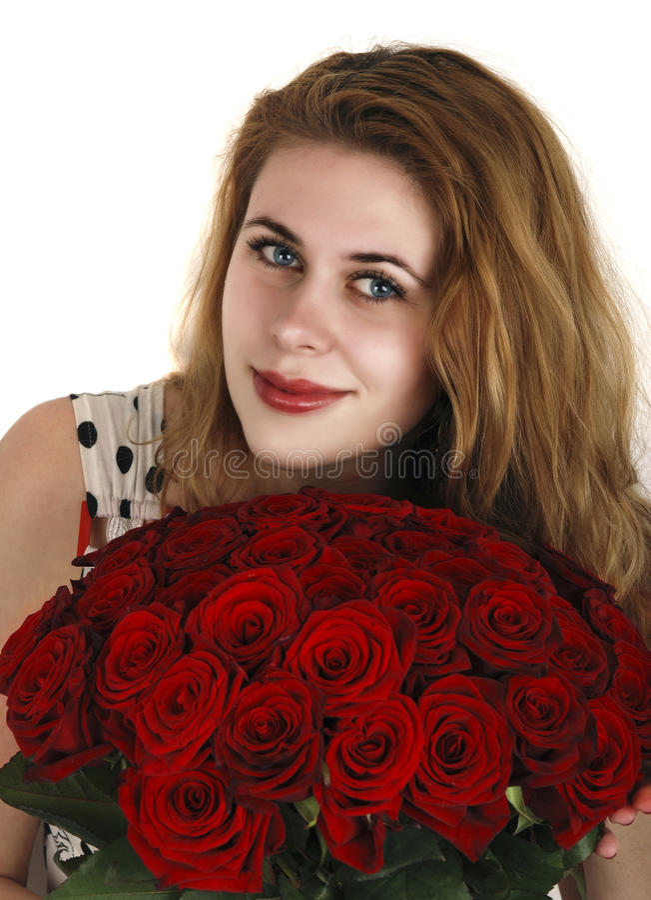 女孩红色玫瑰 免版税库存照片
