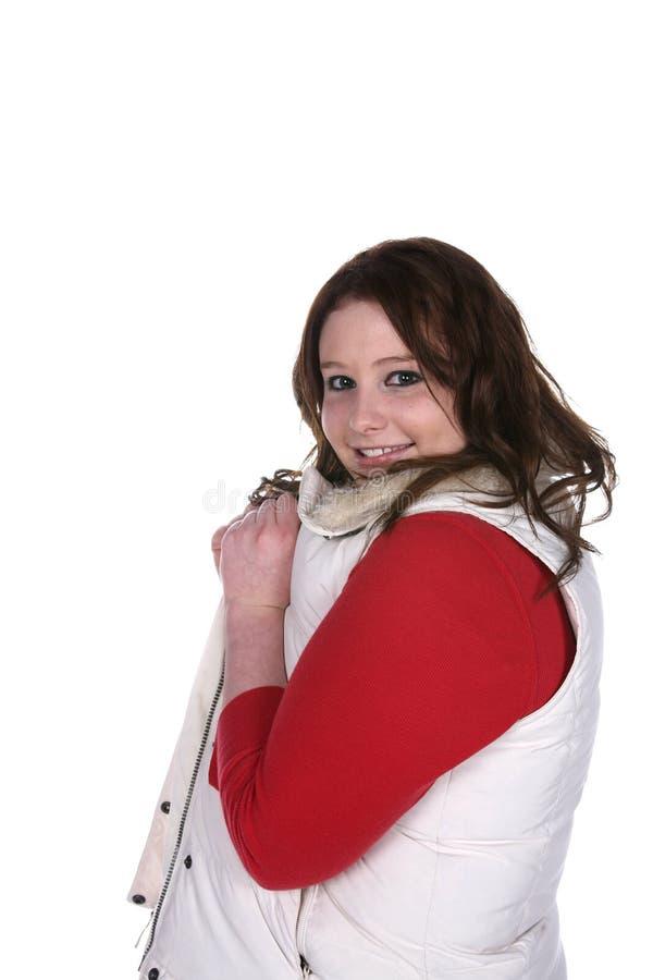 女孩红色衬衣少年背心白色 免版税库存照片