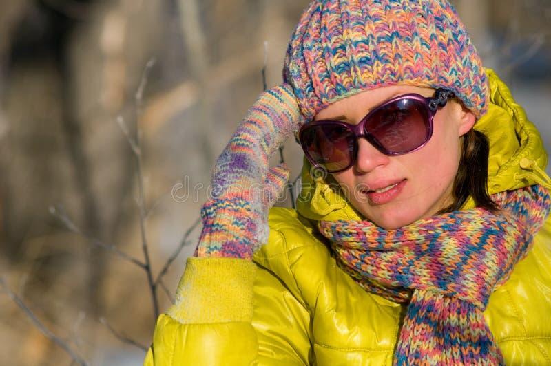女孩纵向冬天 库存图片