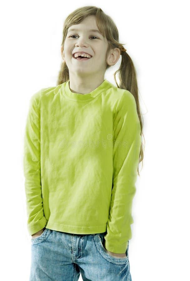 女孩纵向微笑的年轻人 库存照片