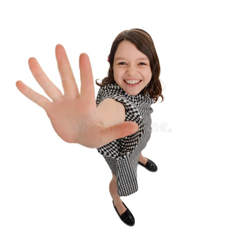 女孩给高五 免版税库存照片