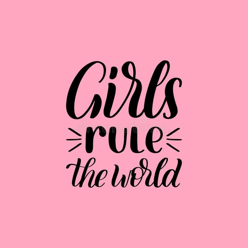 女孩统治在桃红色背景的世界手字法印刷品 女权运动的传染媒介书法例证 向量例证