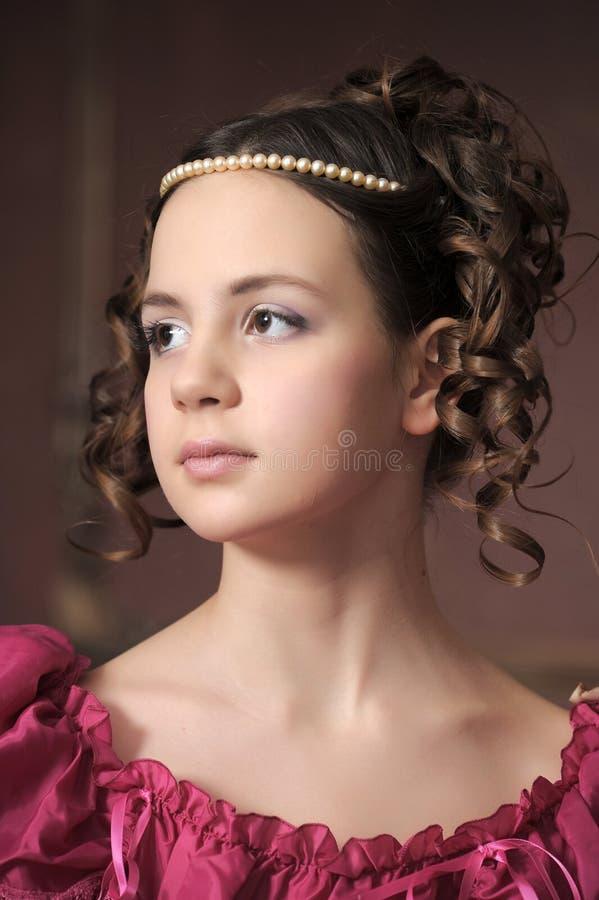 女孩维多利亚女王时代的年轻人 图库摄影