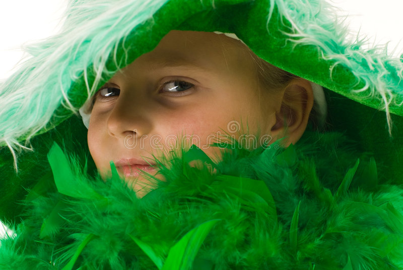 女孩绿色 免版税库存图片