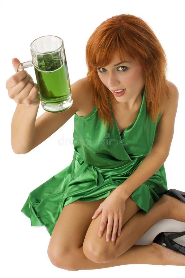 女孩绿色 免版税库存照片