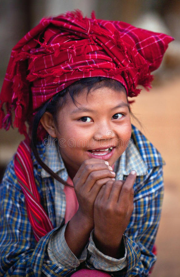 女孩缅甸o pa部落 免版税图库摄影